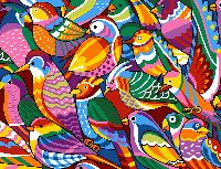 Oiseaux Multicolores, canevas Margot de Paris