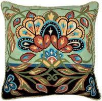 Persian Flowers In black And Green, kit coussin canevas Anchor