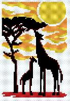 Girafes, kit broderie au point compté Luc